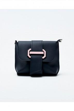 حقيبة يد نسائية مزينة غطاء وحزام - اسود