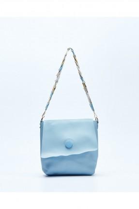 حقيبة يد نسائية مع غطاء وحزام كتف ملون - ازرق