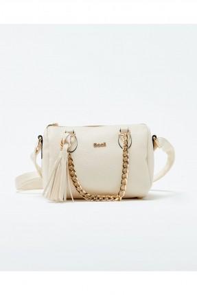 حقيبة يد نسائية مع حزام معدن - بيج