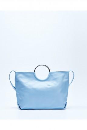 حقيبة يد نسائية جلد مع حلقة معدن - ازرق