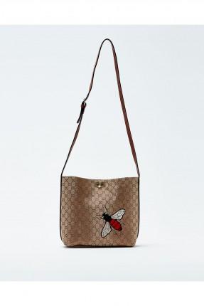 حقيبة يد نسائية منقوشة مع حزام كتف طويل
