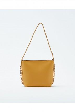 حقيبة يد نسائية مزينة معدن مع حزام كتف سادة - اصفر