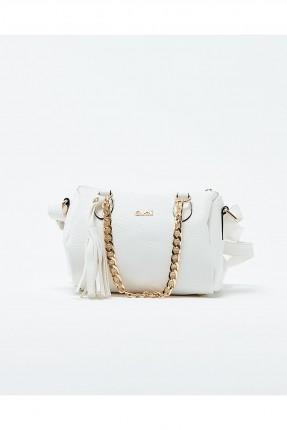 حقيبة يد نسائية مع حزام معدن - ابيض