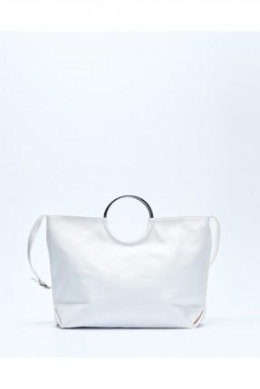 حقيبة يد نسائية جلد مع حلقة معدن - ابيض