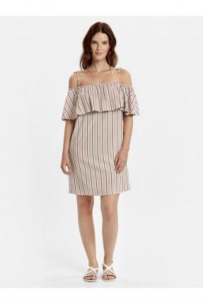فستان سبور مخطط عاري الاكتاف