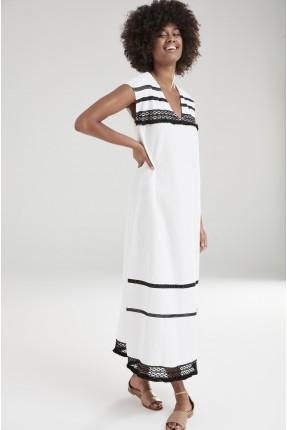 فستان سبور طويل بياقة v - ابيض