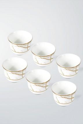 طقم فناجين قهوة عربية 6 اشخاص - مزخرف ذهبي