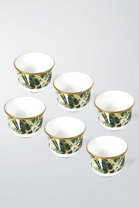 طقم فناجين قهوة عربية 6 اشخاص - مزخرف ورق الشجر