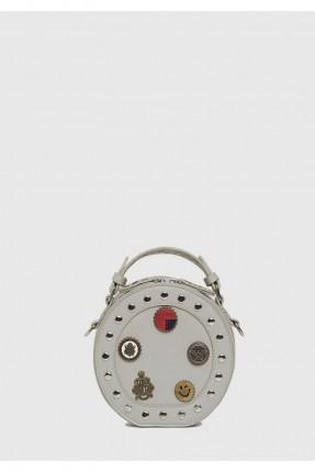 حقيبة يد نسائية مزينة معدن ومطبوعة سبور - رمادي