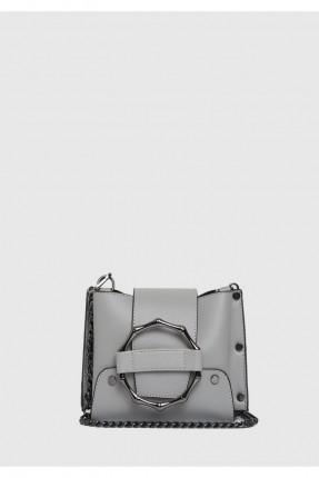 حقيبة يد نسائية مزين حلقة معدن سبور - رمادي