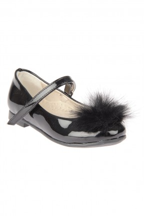حذاء اطفال بناتي مع ريش - اسود