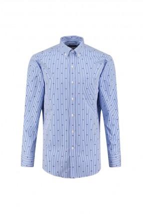 قميص رجالي اكمام طويلة - ازرق