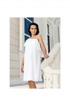 فستان حمل سبور مع كشكش - ابيض