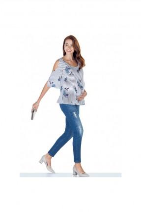 بنطال حمل جينز مع شقوق