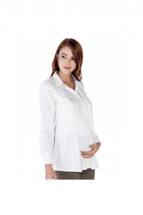 قميص حمل بازرار - ابيض