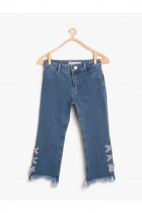 بنطال اطفال بناتي جينز مزين رباطات من الجوانب