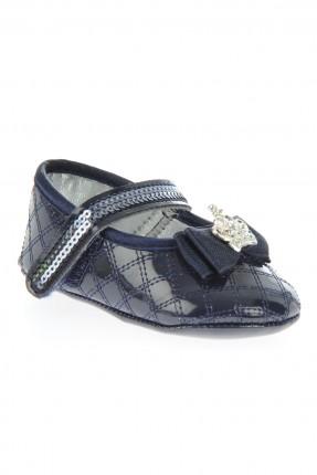 حذاء بيبي بناتي مع ببيون - ازرق داكن