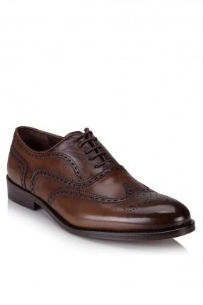 حذاء رجالي منقط زخرفة برباط كلاسيكي - بني