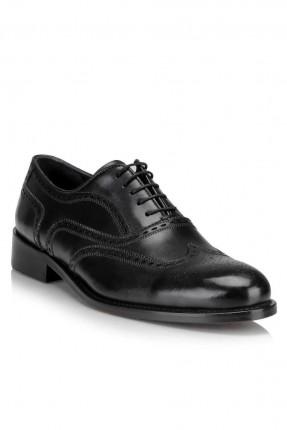 حذاء رجالي منقط زخرفة برباط كلاسيكي - اسود