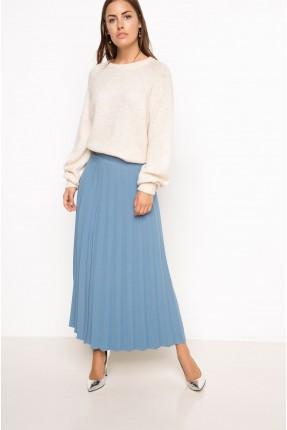 تنورة طويلة مع كسرات - ازرق