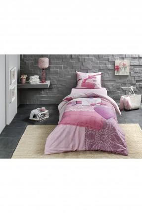 طقم غطاء سرير فردي برسومات _ وردي