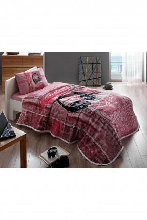 طقم بطانية سرير مفرد مع رسمة