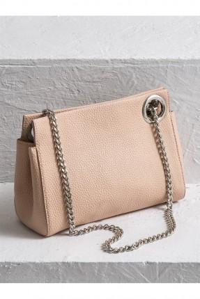 حقيبة يد نسائية مع سلسال - وردي