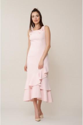 فستان رسمي طويل مع كشكش - وردي