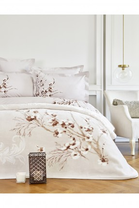 طقم غطاء سرير مزدوج مع بطانية منقوش ازهار - بيج