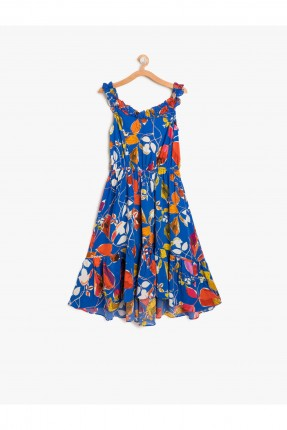 فستان اطفال بناتي حفر منقوش - ازرق