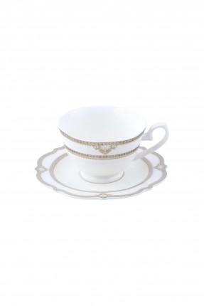 طقم فنجان شاي - ابيض و ذهبي