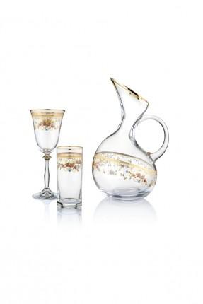 طقم شراب زجاجي - رسمة ازهار