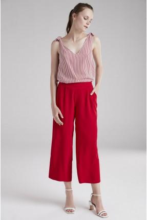 بنطال نسائي مع جيوب - احمر