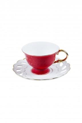 طقم فنجان قهوة - ابيض و احمر