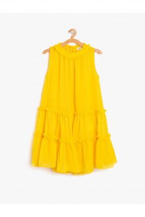 فستان اطفال بناتي حفر - اصفر