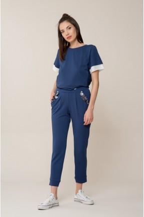بنطال نسائي سبور مع جيوب - ازرق داكن