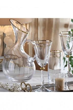 طقم شراب زجاجي - شفاف