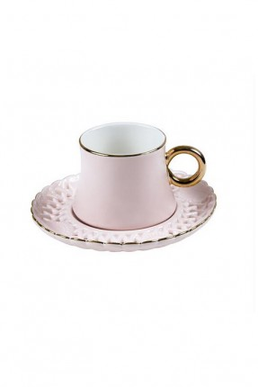 طقم فنجان قهوة - وردي