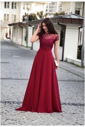 فستان رسمي دانتيل _ خمري