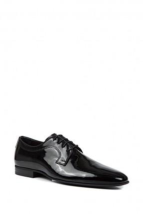 حذاء رجالي جلد مع حزام - ازرق داكن