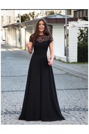 فستان رسمي دانتيل _ اسود