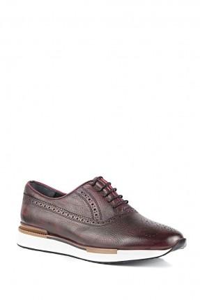 حذاء رجالي جلد مع رباطات - خمري