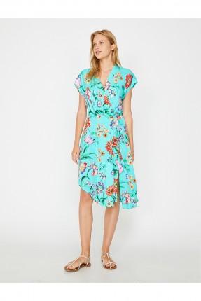 فستان سبور منقوش ازهار بياقة سبعة