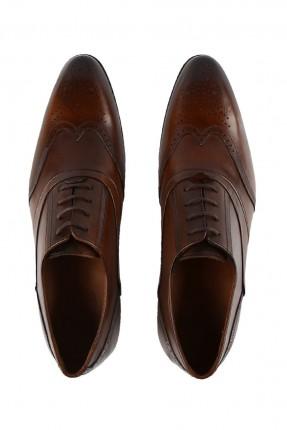 حذاء رجالي جلد مع رباطات - بني