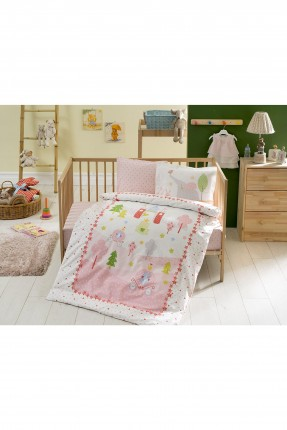 طقم غطاء سرير بيبي مع رسمة - وردي