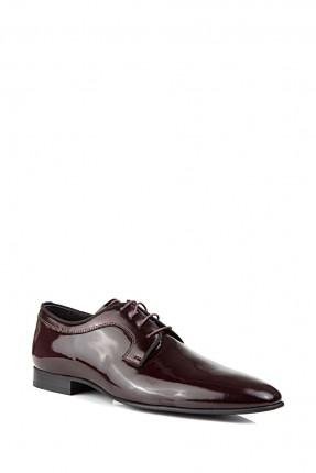 حذاء رجالي جلد ذو لمعة - خمري