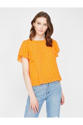 بلوز نسائي منقط سبور - برتقالي