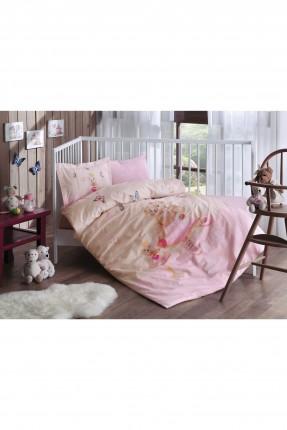 طقم غطاء سرير بيبي - وردي