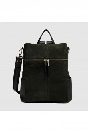 حقيبة ظهر نسائية مع سحاب سبور - زيتي