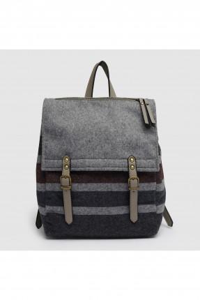 حقيبة ظهر نسائية مقلمة مع احزمة مزدوجة - رمادي